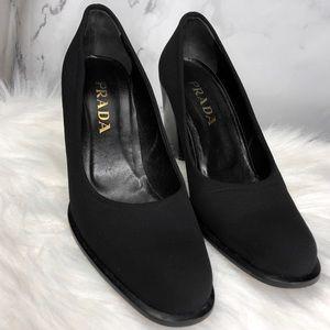PRADA Vintage Black Pumps Block Heels Designer